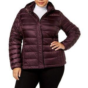Plum burgundy color down jacket plus size 1X new